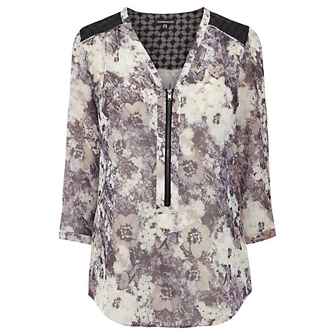 Buy Warehouse Camouflage Floral Print Blouse, Multi Online at johnlewis.com