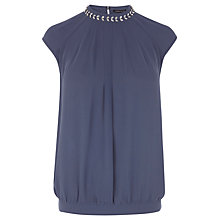 Buy Warehouse Embellished High Neck Top, Light Grey Online at johnlewis.com