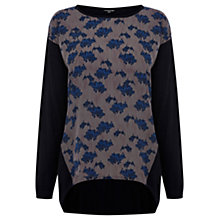 Buy Warehouse Blurred Floral Print Front Jumper, Navy Online at johnlewis.com