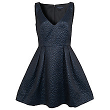 Buy French Connection Jacquard V-Neck Dress, Utility Blue Online at johnlewis.com