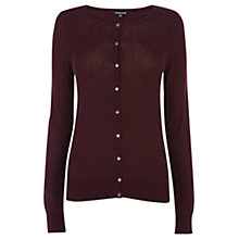 Buy Warehouse Button Crew Neck Cardigan, Dark red Online at johnlewis.com