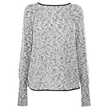 Buy Warehouse PU Trim Jumper, Light Grey Online at johnlewis.com