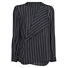 Buy Mango Pin Stripe Blouse, Dark Blue Online at johnlewis.com