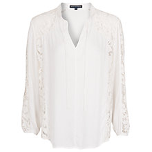 Buy French Connection Fluid Crepe Lace Panel Shirt, Daisy White Online at johnlewis.com