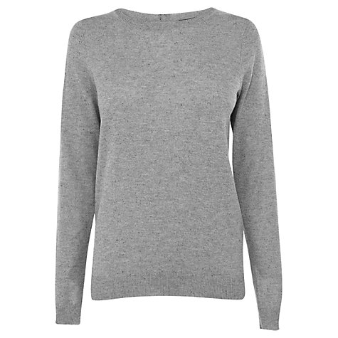 Buy Warehouse Zip Back Crew Jumper, Light grey Online at johnlewis.com