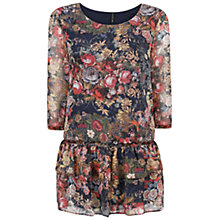 Buy Mango Floral Chiffon Dress, Blue Online at johnlewis.com