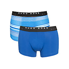 Buy Hugo Boss Plain and Stripe Trunks, Pack of 2, Blue Online at johnlewis.com