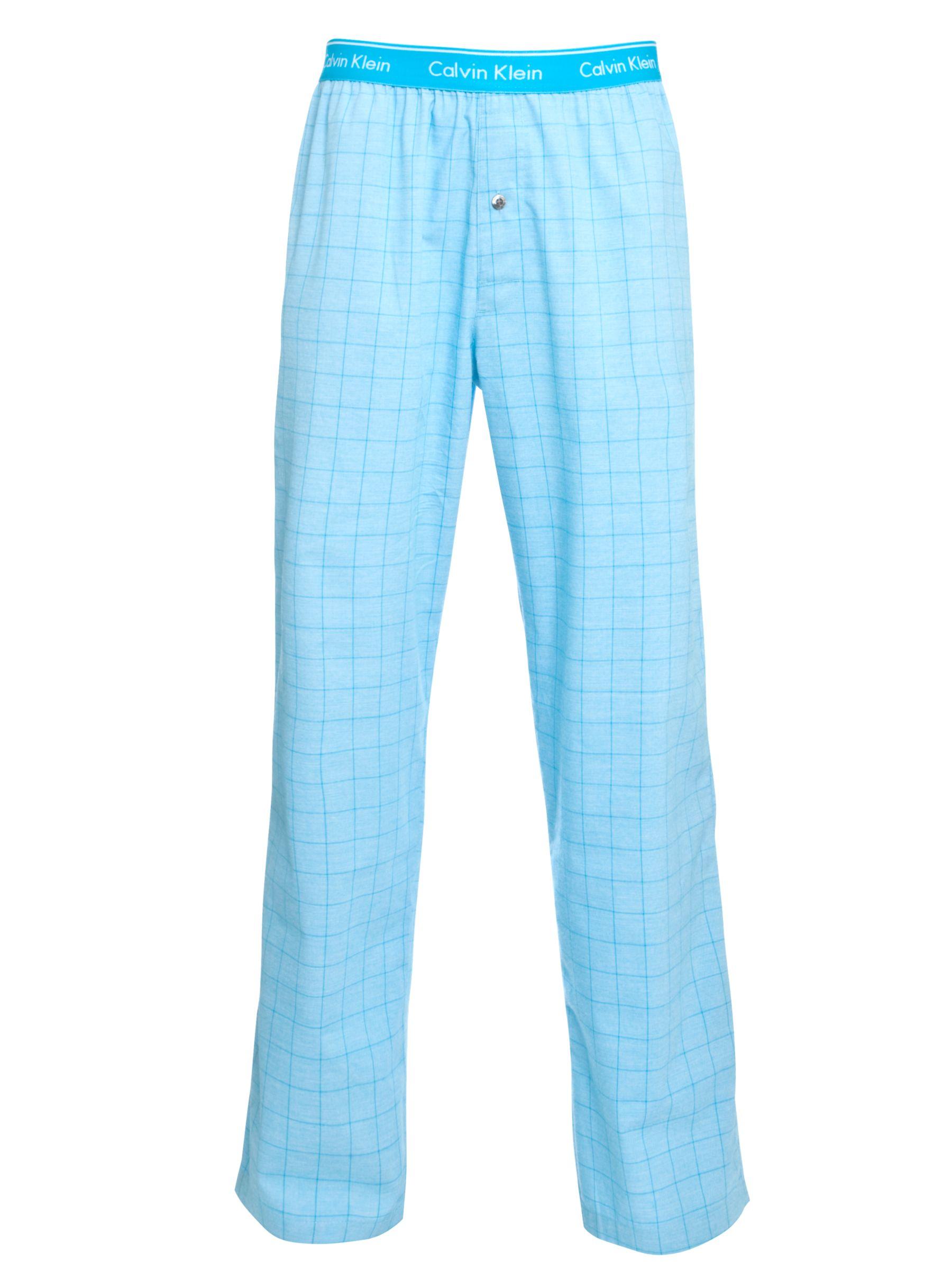 Calvin Klein Trevor Woven Cotton Check Pyjama Pants, Turquoise