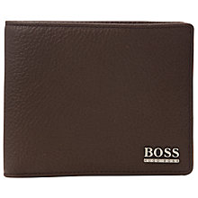 Buy BOSS Monist Leather Billfold, Brown Online at johnlewis.com
