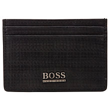 Buy BOSS Settee Embossed Leather Card Holder, Black Online at johnlewis.com