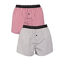 Buy BOSS Stripe and Check Boxers, Pack of 2, Red/Blue Online at johnlewis.com