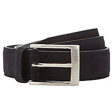 Buy BOSS Sesily Nubuck Belt, Navy Online at johnlewis.com