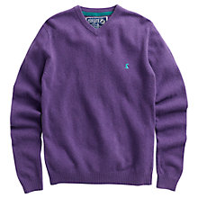 Buy Joules Retford V-Neck Wool-Blend Jumper, Lilac Online at johnlewis.com