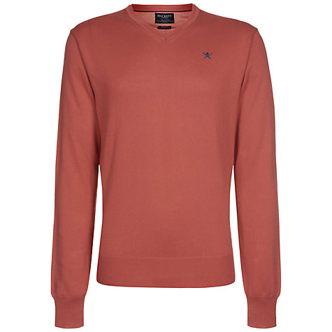 Buy Hackett London Pima Cotton V-Neck Jumper, Coral Online at johnlewis.com