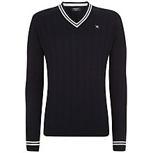 Buy Hackett London Cotton-Cashmere Cable-Knit Cricket Jumper, Navy Online at johnlewis.com