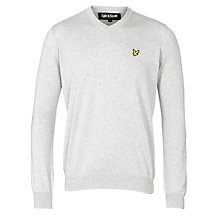 Buy Lyle & Scott V-Neck Cotton Jumper, Light Grey Marl Online at johnlewis.com