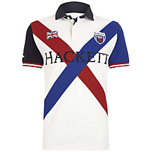 Buy Hackett London Short Sleeve Cross Rugby Shirt, Off White/Multi Online at johnlewis.com