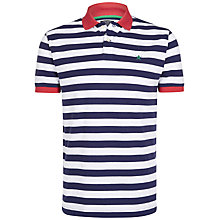 Buy Hackett London Contrasting Collar Striped Polo Shirt, Blue/White Online at johnlewis.com