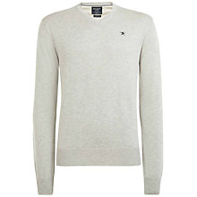 Buy Hackett London Pima Cotton V-Neck Jumper, Light Grey Online at johnlewis.com