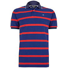 Buy Hackett London Striped Cotton Polo Shirt, Blue/Red Online at johnlewis.com