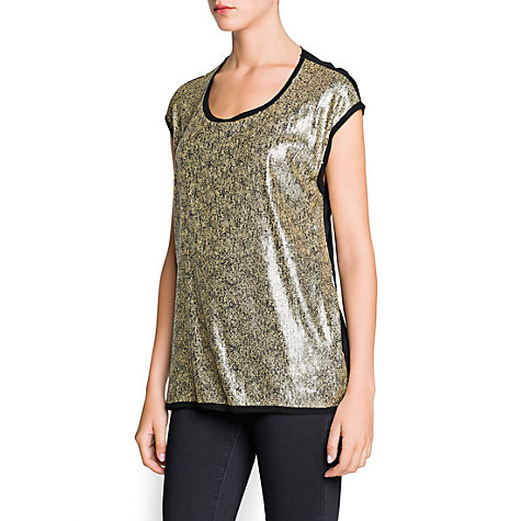 Buy Mango Raw Edge Sequin T-shirt, Black Online at johnlewis.com