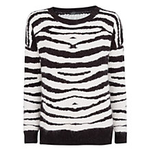 Buy Mango Zebra Angora Sweatshirt, Black Online at johnlewis.com