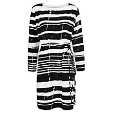 Buy Mango Irregular Stripe Dress, Black Online at johnlewis.com