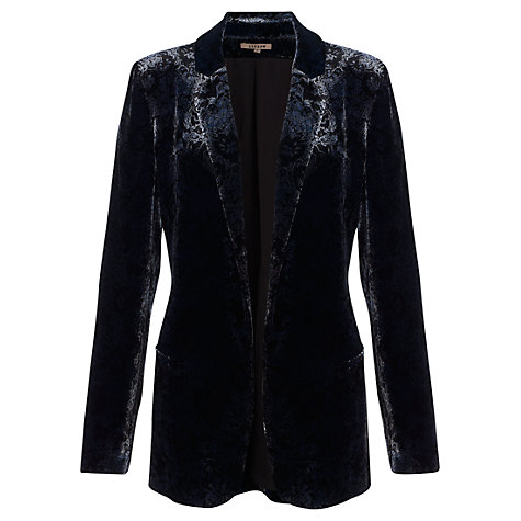 Buy Jigsaw Velvet Printed Jacket, Blue Online at johnlewis.com