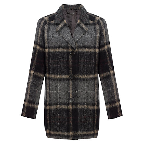 Buy Jigsaw Large Check Car Coat, Black Online at johnlewis.com