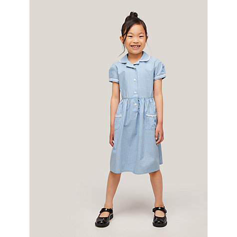 John Lewis Gingham Cotton School Summer Dress , Blue