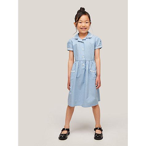 John Lewis Gingham Cotton School Summer Dress , Blue