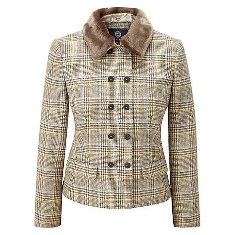 Buy Viyella Check Fur Collar Jacket, Khaki Online at johnlewis.com
