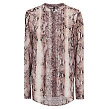 Buy Mango Snake Print Chiffon Blouse, Natural White Online at johnlewis.com