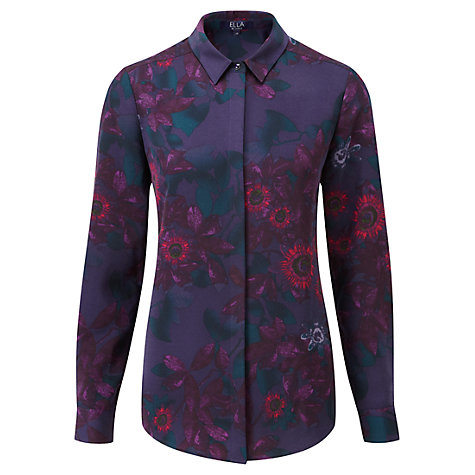 Buy Viyella Ella Flower Print Blouse, Sapphire Online at johnlewis.com