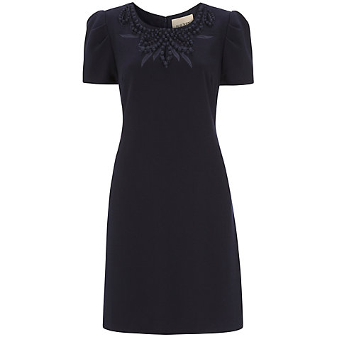 Buy Havren Embellished Neck Shift Dress, Navy Online at johnlewis.com