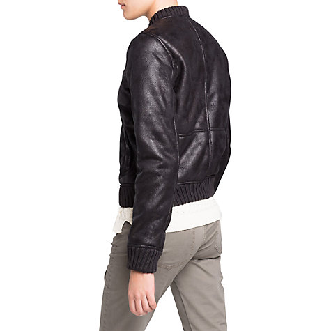 Buy Mango Faux Shearling Bomber Jacket, Black Online at johnlewis.com