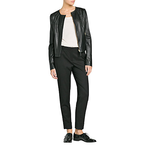 Buy Mango Cropped Leather Jacket Online at johnlewis.com
