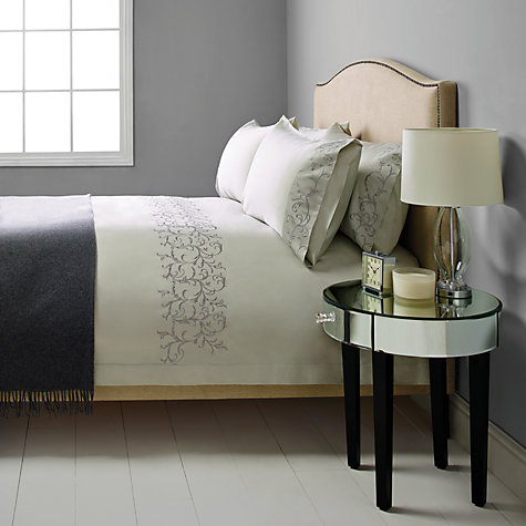 Buy John Lewis Kensington Sateen Embroidered Bedding, Grey Online at johnlewis.com