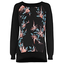 Buy Oasis Oriental Floral Print Sweatshirt, Black Online at johnlewis.com