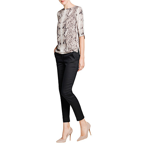 Buy Mango Snake Print Blouse, Natural White Online at johnlewis.com