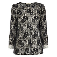 Buy Oasis Lace Design Jumper, Black/White Online at johnlewis.com