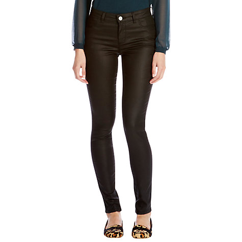Buy Oasis Lightweight Coated Jade Jeggings, Black Online at johnlewis.com