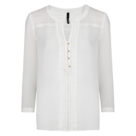 Buy Mango Pin Tuck Blouse, Natural White Online at johnlewis.com