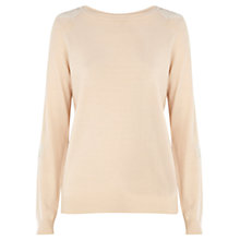 Buy Warehouse Sequin and Woven Sleeve Jumper Online at johnlewis.com