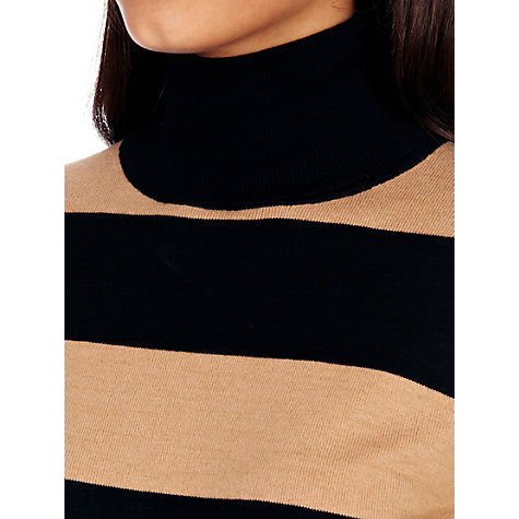 Buy Oasis Stripe Polo Neck Jumper, Black Online at johnlewis.com