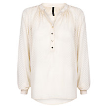 Buy Mango Herringbone Blouse, Light Beige Online at johnlewis.com