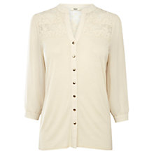 Buy Oasis Lace Yoke Shirt, Off-White Online at johnlewis.com