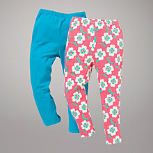 Buy John Lewis Plain & Floral Leggings, Pack of 2, Blue/Pink Online at johnlewis.com