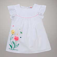 Buy John Lewis Flower Applique Top, White Online at johnlewis.com