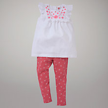 Buy John Lewis White Top & Floral Leggings Set, Pink/White Online at johnlewis.com